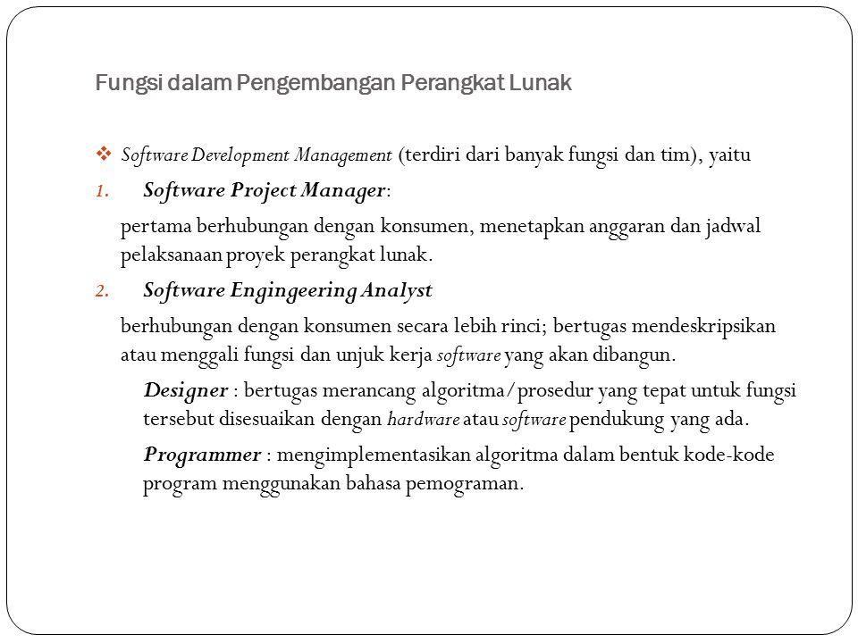 Fungsi dalam Pengembangan Perangkat Lunak  Software Development Management (terdiri dari banyak fungsi dan tim), yaitu 1. Software Project Manager: p