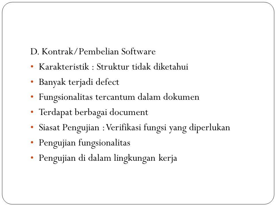 D. Kontrak/Pembelian Software Karakteristik : Struktur tidak diketahui Banyak terjadi defect Fungsionalitas tercantum dalam dokumen Terdapat berbagai