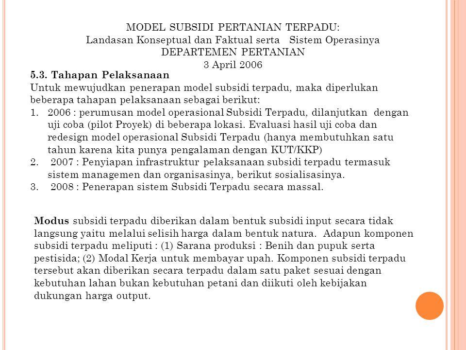 MODEL SUBSIDI PERTANIAN TERPADU: Landasan Konseptual dan Faktual serta Sistem Operasinya DEPARTEMEN PERTANIAN 3 April 2006 5.3. Tahapan Pelaksanaan Un