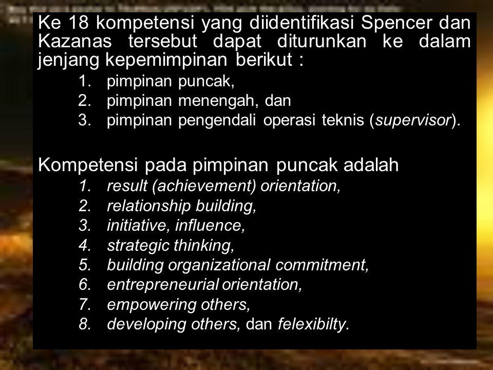 Ke 18 kompetensi yang diidentifikasi Spencer dan Kazanas tersebut dapat diturunkan ke dalam jenjang kepemimpinan berikut : 1.pimpinan puncak, 2.pimpin