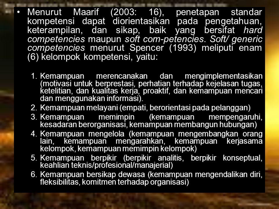 Menurut Maarif (2003: 16), penetapan standar kompetensi dapat diorientasikan pada pengetahuan, keterampilan, dan sikap, baik yang bersifat hard compet