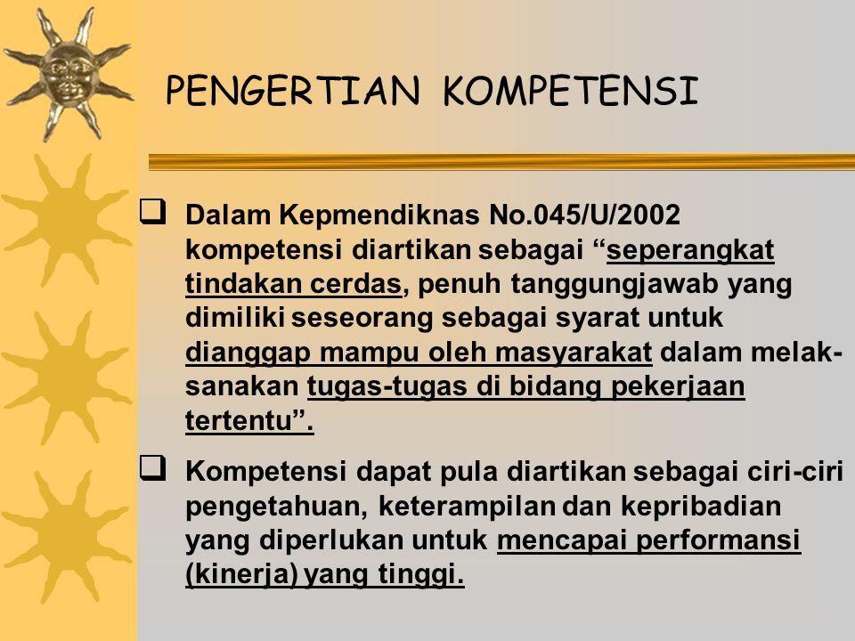 STRUKTUR KOMPETENSI  Sesuai Kepmendiknas No.045/U/2002 maka Kompetensi yang dimiliki oleh setiap sarjana terdiri atas : a.
