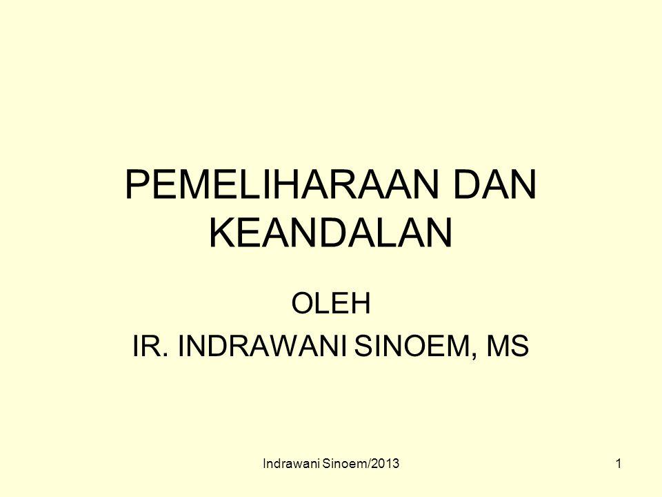 1 PEMELIHARAAN DAN KEANDALAN OLEH IR. INDRAWANI SINOEM, MS Indrawani Sinoem/2013