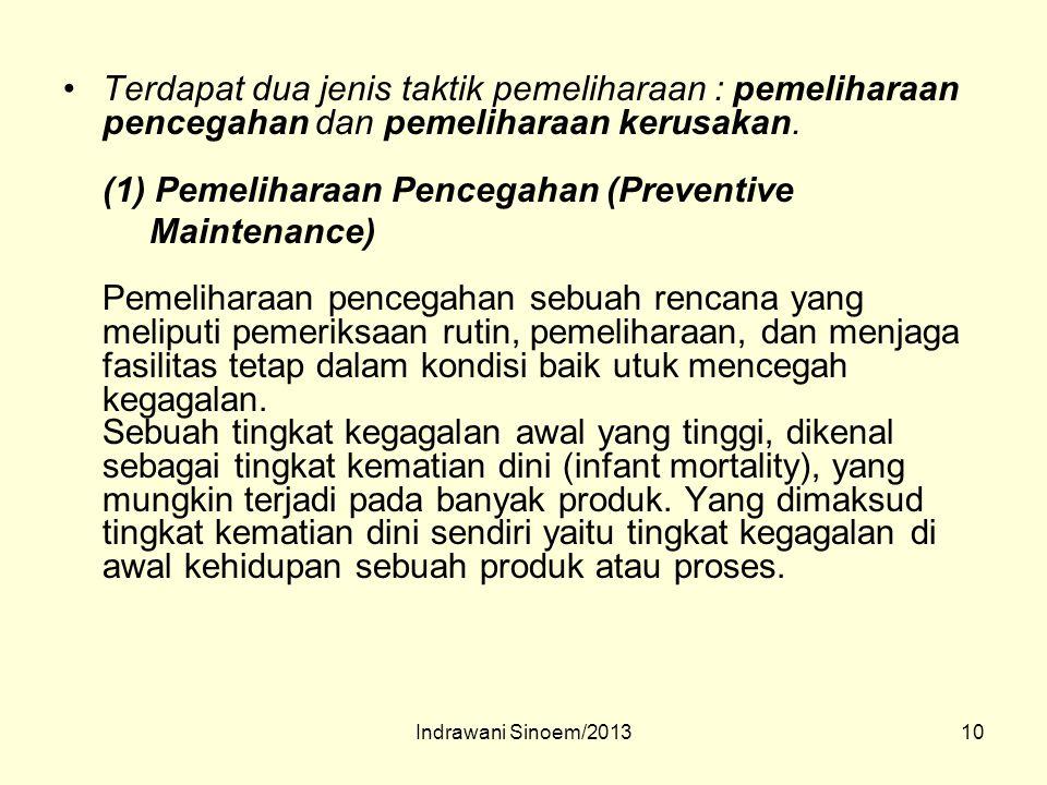 10 Terdapat dua jenis taktik pemeliharaan : pemeliharaan pencegahan dan pemeliharaan kerusakan. (1) Pemeliharaan Pencegahan (Preventive Maintenance) P