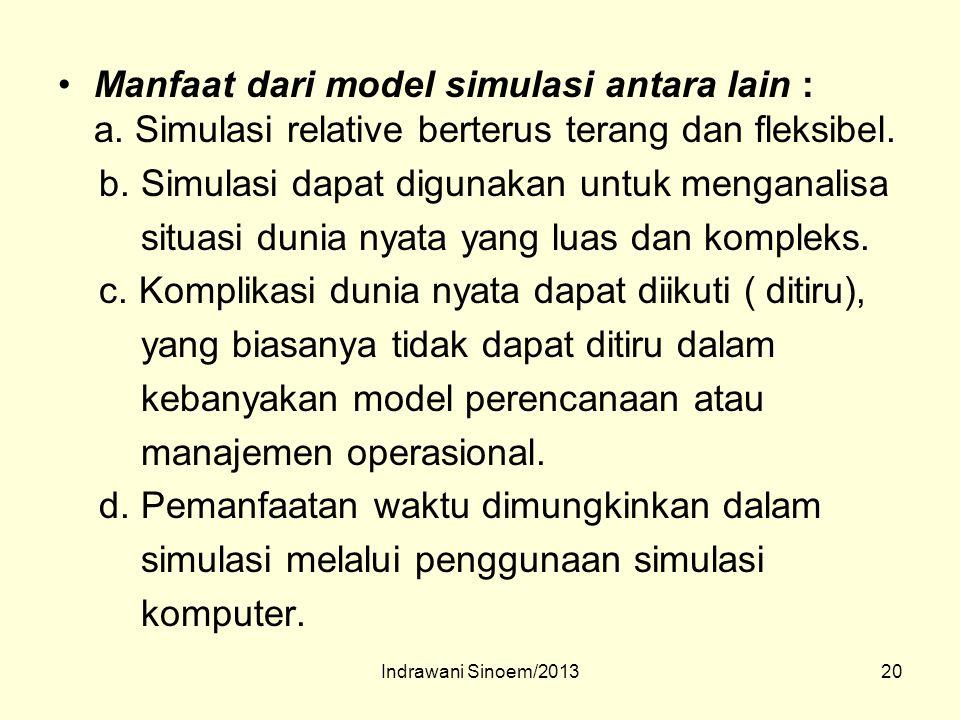20 Manfaat dari model simulasi antara lain : a. Simulasi relative berterus terang dan fleksibel. b. Simulasi dapat digunakan untuk menganalisa situasi