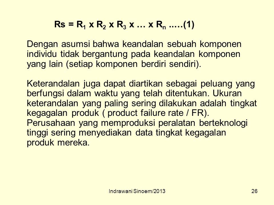26 Rs = R 1 x R 2 x R 3 x … x R n..…(1) Dengan asumsi bahwa keandalan sebuah komponen individu tidak bergantung pada keandalan komponen yang lain (set