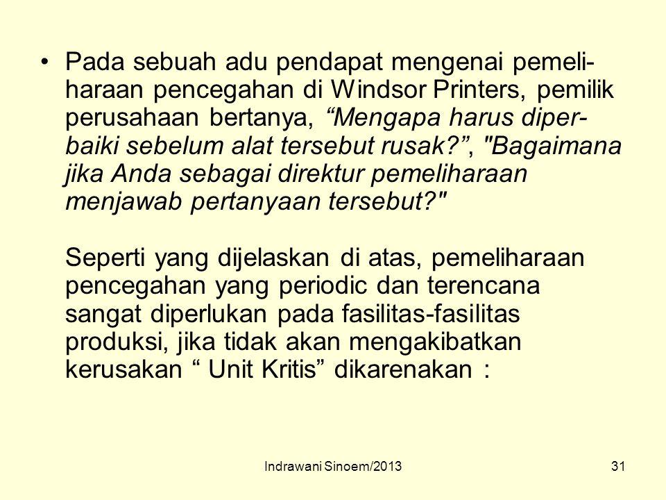 "31 Pada sebuah adu pendapat mengenai pemeli- haraan pencegahan di Windsor Printers, pemilik perusahaan bertanya, ""Mengapa harus diper- baiki sebelum a"