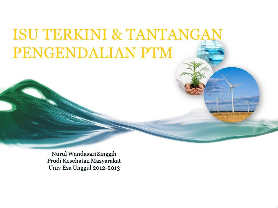 ISU TERKINI & TANTANGAN PENGENDALIAN PTM Nurul Wandasari Singgih Prodi Kesehatan Masyarakat Univ Esa Unggul 2012-2013