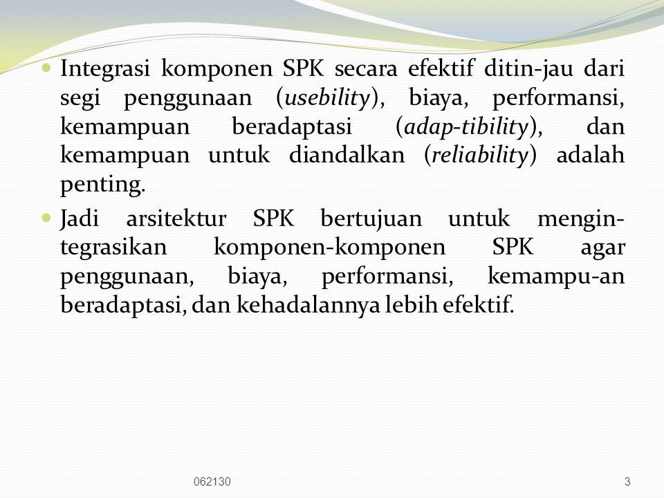 Integrasi komponen SPK secara efektif ditin-jau dari segi penggunaan (usebility), biaya, performansi, kemampuan beradaptasi (adap-tibility), dan kemampuan untuk diandalkan (reliability) adalah penting.
