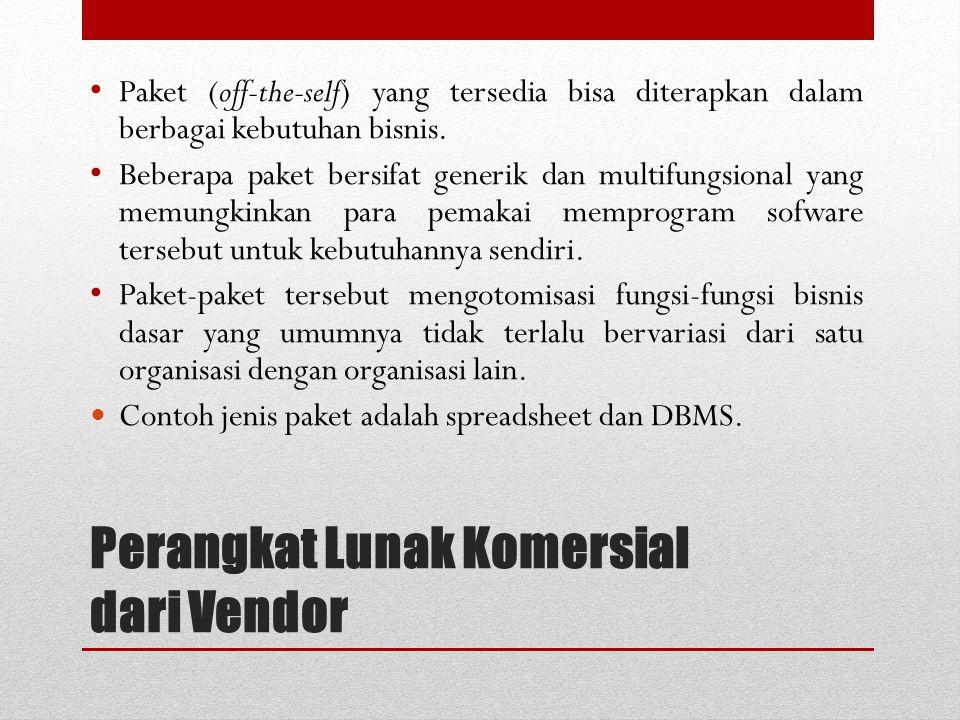 Perangkat Lunak Komersial dari Vendor Paket (off-the-self) yang tersedia bisa diterapkan dalam berbagai kebutuhan bisnis. Beberapa paket bersifat gene