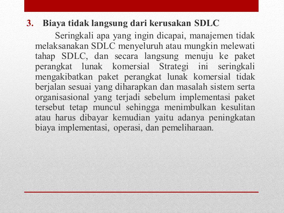 3.Biaya tidak langsung dari kerusakan SDLC Seringkali apa yang ingin dicapai, manajemen tidak melaksanakan SDLC menyeluruh atau mungkin melewati tahap