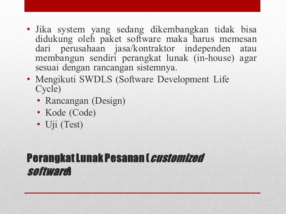 Perangkat Lunak Pesanan (customized software) Jika system yang sedang dikembangkan tidak bisa didukung oleh paket software maka harus memesan dari per
