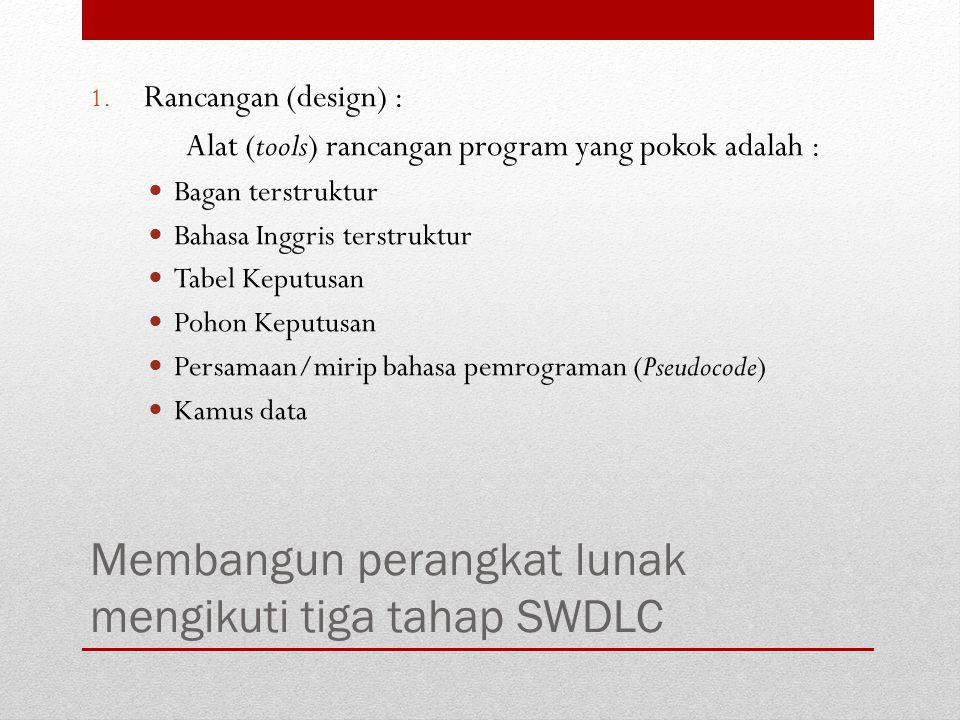 Membangun perangkat lunak mengikuti tiga tahap SWDLC 1. Rancangan (design) : Alat (tools) rancangan program yang pokok adalah : Bagan terstruktur Baha