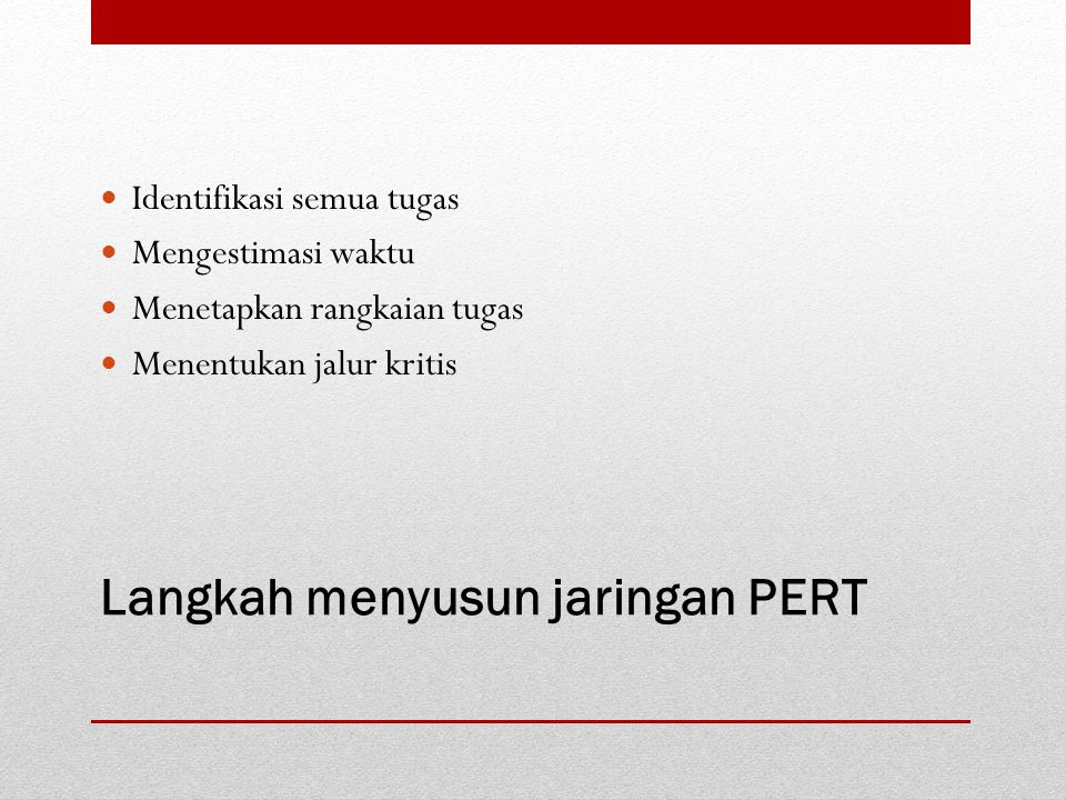 Langkah menyusun jaringan PERT Identifikasi semua tugas Mengestimasi waktu Menetapkan rangkaian tugas Menentukan jalur kritis