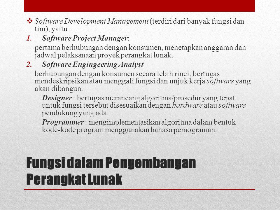 Fungsi dalam Pengembangan Perangkat Lunak  Software Development Management (terdiri dari banyak fungsi dan tim), yaitu 1.Software Project Manager: pe