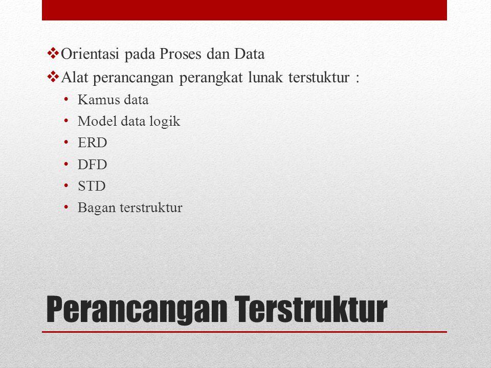 Perancangan Terstruktur  Orientasi pada Proses dan Data  Alat perancangan perangkat lunak terstuktur : Kamus data Model data logik ERD DFD STD Bagan