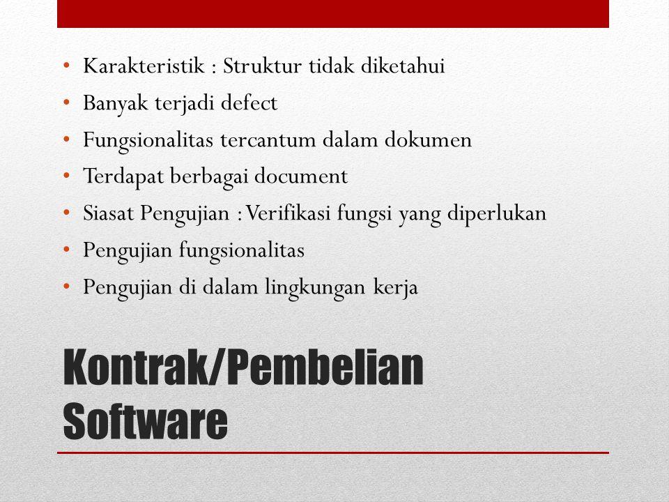 Kontrak/Pembelian Software Karakteristik : Struktur tidak diketahui Banyak terjadi defect Fungsionalitas tercantum dalam dokumen Terdapat berbagai doc