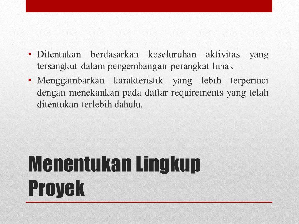 Menentukan Lingkup Proyek Ditentukan berdasarkan keseluruhan aktivitas yang tersangkut dalam pengembangan perangkat lunak Menggambarkan karakteristik