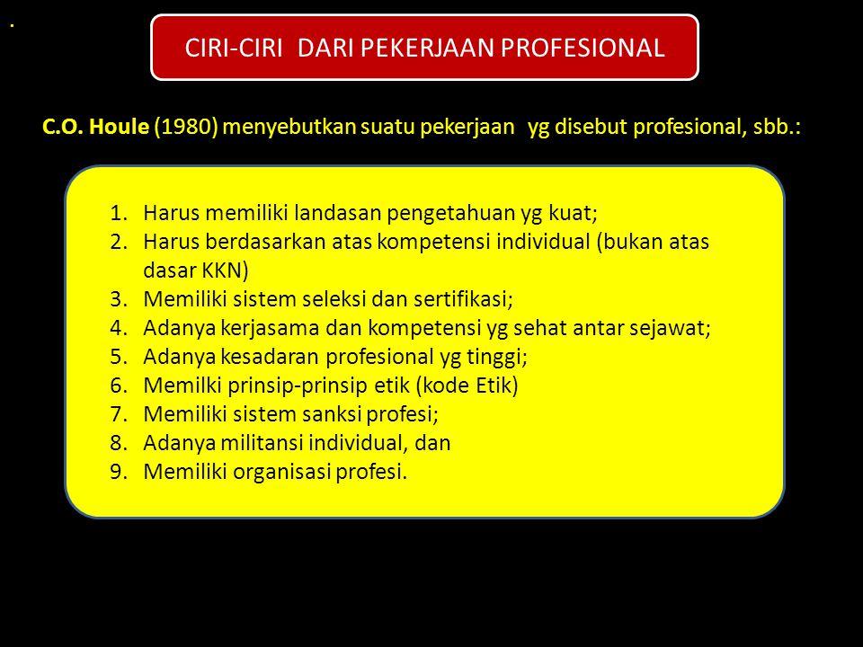 . C.O. Houle (1980) menyebutkan suatu pekerjaan yg disebut profesional, sbb.: CIRI-CIRI DARI PEKERJAAN PROFESIONAL 1.Harus memiliki landasan pengetahu