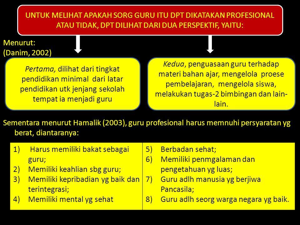 Menurut: (Danim, 2002) Sementara menurut Hamalik (2003), guru profesional harus memnuhi persyaratan yg berat, diantaranya: UNTUK MELIHAT APAKAH SORG G