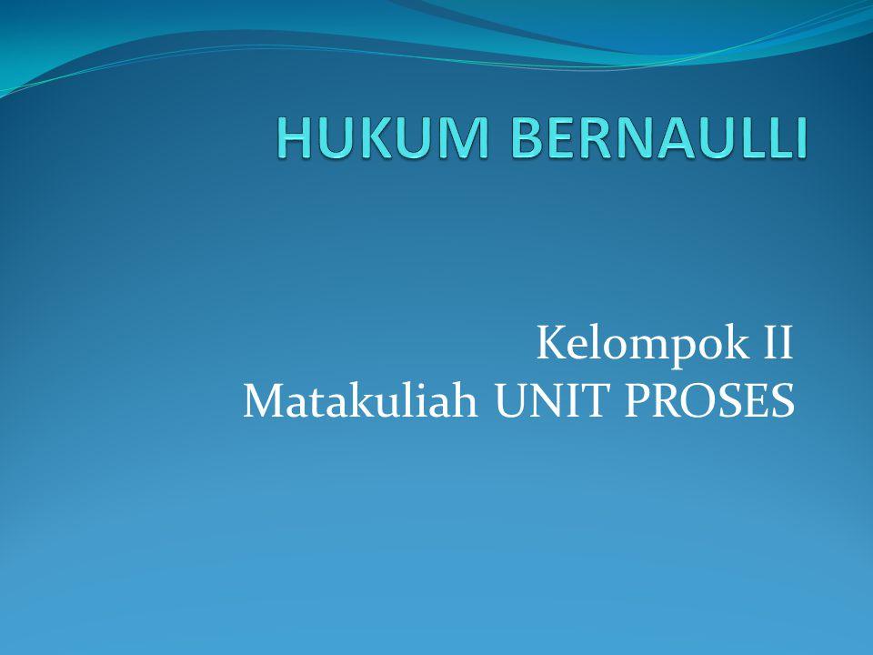 HUKUM BERNAULLI Hukum Bernoulli, yakni suatu hukum yang dapat digunakan untuk menjelaskan gejala yang berhubungan dengan gerakan zat alir melalui suatu penampang pipa.