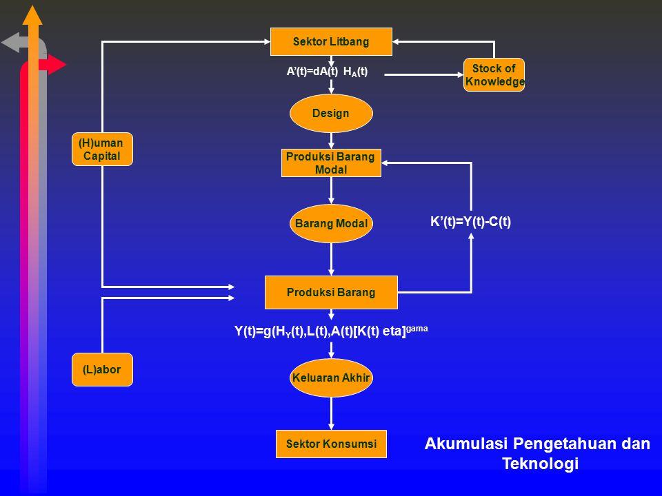 Sektor Litbang Produksi Barang Modal Produksi Barang Sektor Konsumsi Keluaran Akhir Barang Modal Design (H)uman Capital Stock of Knowledge (L)abor A'(