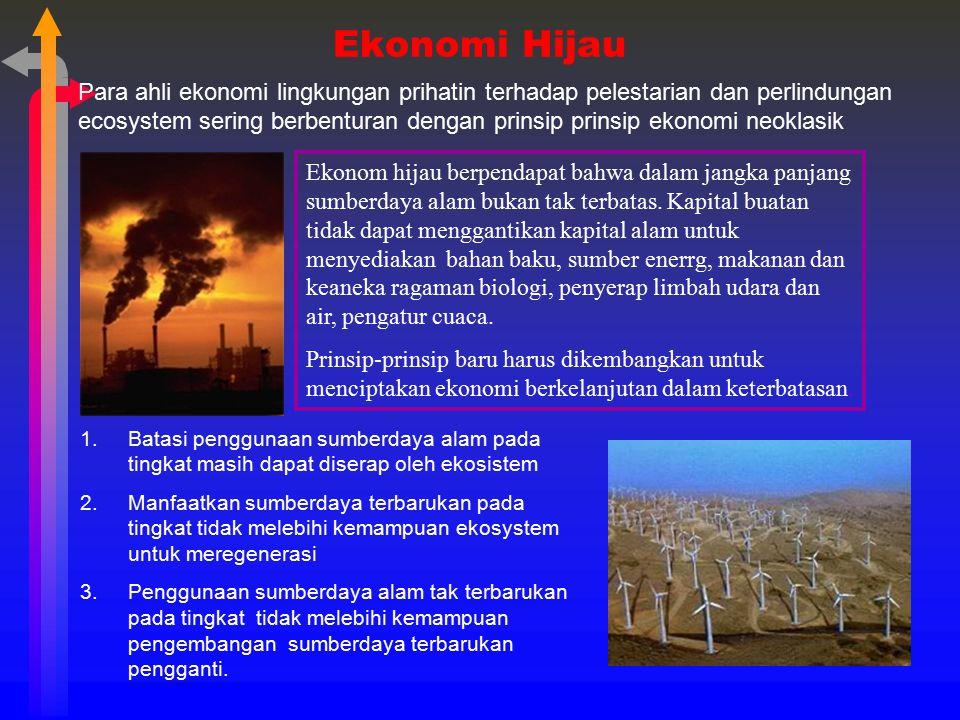 Ekonomi Hijau Para ahli ekonomi lingkungan prihatin terhadap pelestarian dan perlindungan ecosystem sering berbenturan dengan prinsip prinsip ekonomi
