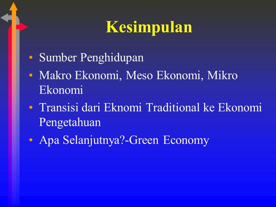 Kesimpulan Sumber Penghidupan Makro Ekonomi, Meso Ekonomi, Mikro Ekonomi Transisi dari Eknomi Traditional ke Ekonomi Pengetahuan Apa Selanjutnya?-Gree