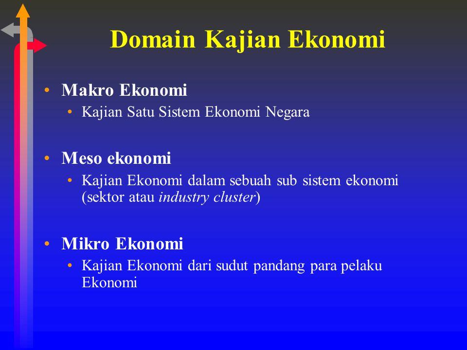 Makro Ekonomi Kajian mengenai hubungan antara unsur- unsur dalam sebuah sistem ekonomi seperti produksi nasional dan ketenaga-kerjaan, dan sebab sebab berubahnya kinerja ekonomi termasuk struktur dan institusi ekonomi (Eleanor Doyle 2005)