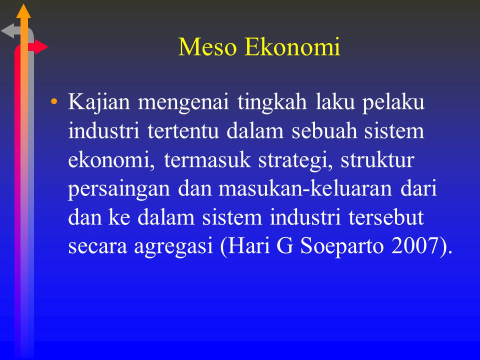 Meso Ekonomi Kajian mengenai tingkah laku pelaku industri tertentu dalam sebuah sistem ekonomi, termasuk strategi, struktur persaingan dan masukan-kel