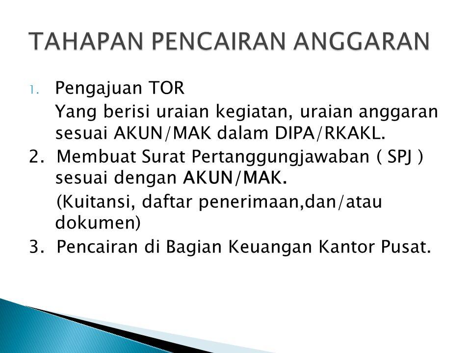 1. Pengajuan TOR Yang berisi uraian kegiatan, uraian anggaran sesuai AKUN/MAK dalam DIPA/RKAKL. 2. Membuat Surat Pertanggungjawaban ( SPJ ) sesuai den
