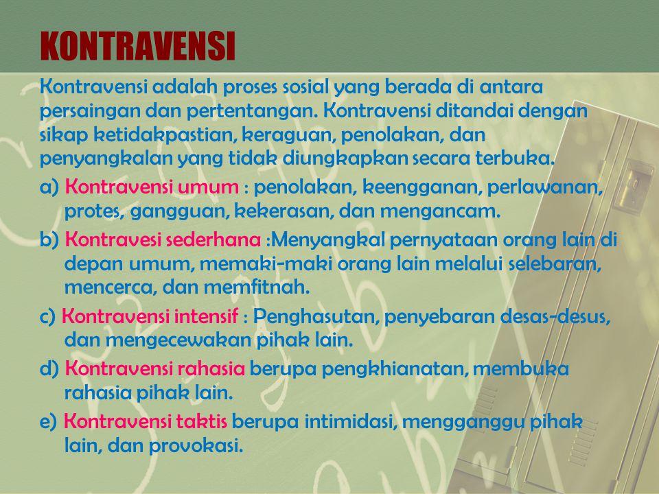 KONTRAVENSI Kontravensi adalah proses sosial yang berada di antara persaingan dan pertentangan. Kontravensi ditandai dengan sikap ketidakpastian, kera