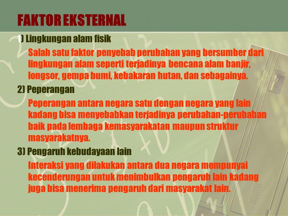 FAKTOR EKSTERNAL 1) Lingkungan alam fisik Salah satu faktor penyebab perubahan yang bersumber dari lingkungan alam seperti terjadinya bencana alam ban