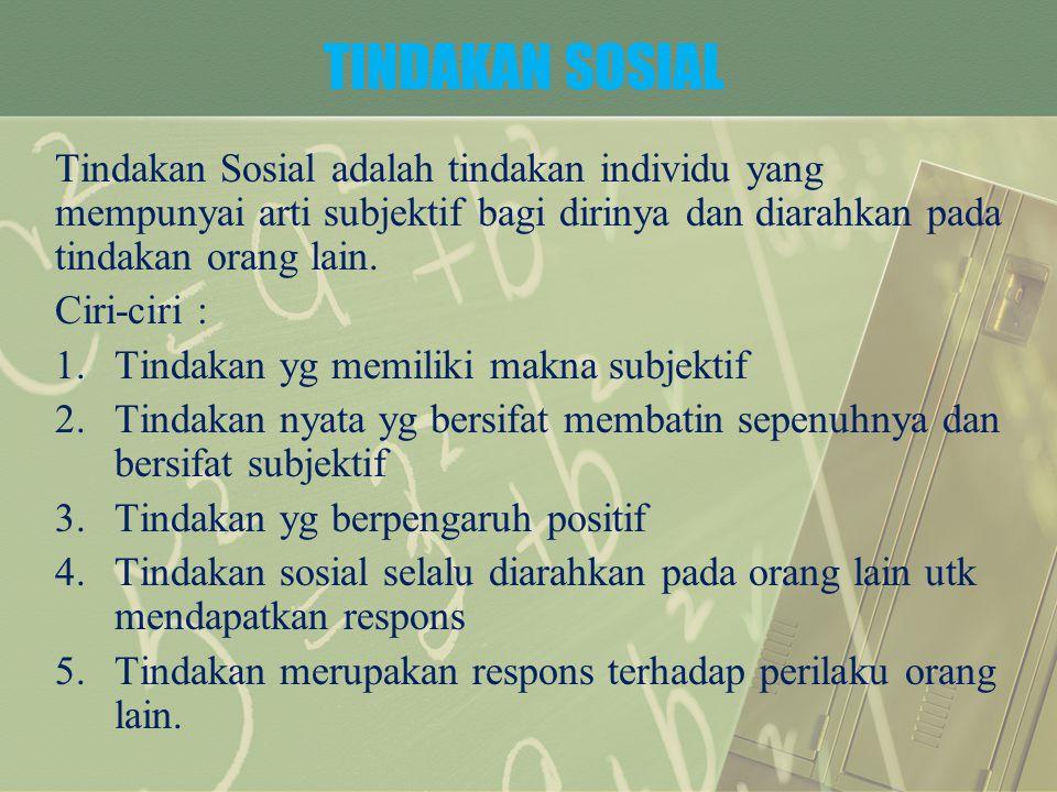 TIPE-TIPE TINDAKAN SOSIAL 1.Rasionalitas instrumental (zwek rational) 2.