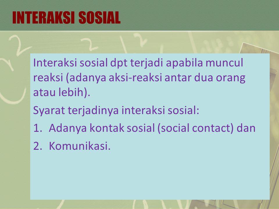 INTERAKSI SOSIAL Interaksi sosial dpt terjadi apabila muncul reaksi (adanya aksi-reaksi antar dua orang atau lebih). Syarat terjadinya interaksi sosia