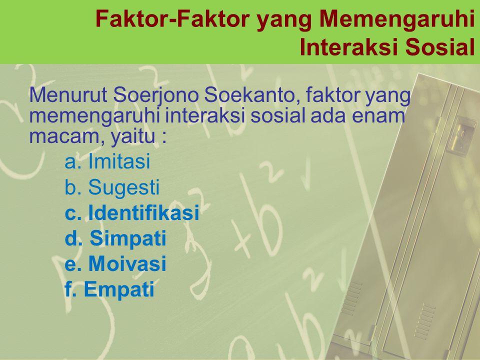 Faktor-Faktor yang Memengaruhi Interaksi Sosial Menurut Soerjono Soekanto, faktor yang memengaruhi interaksi sosial ada enam macam, yaitu : a. Imitasi