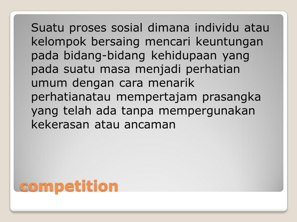 competition Suatu proses sosial dimana individu atau kelompok bersaing mencari keuntungan pada bidang-bidang kehidupaan yang pada suatu masa menjadi p