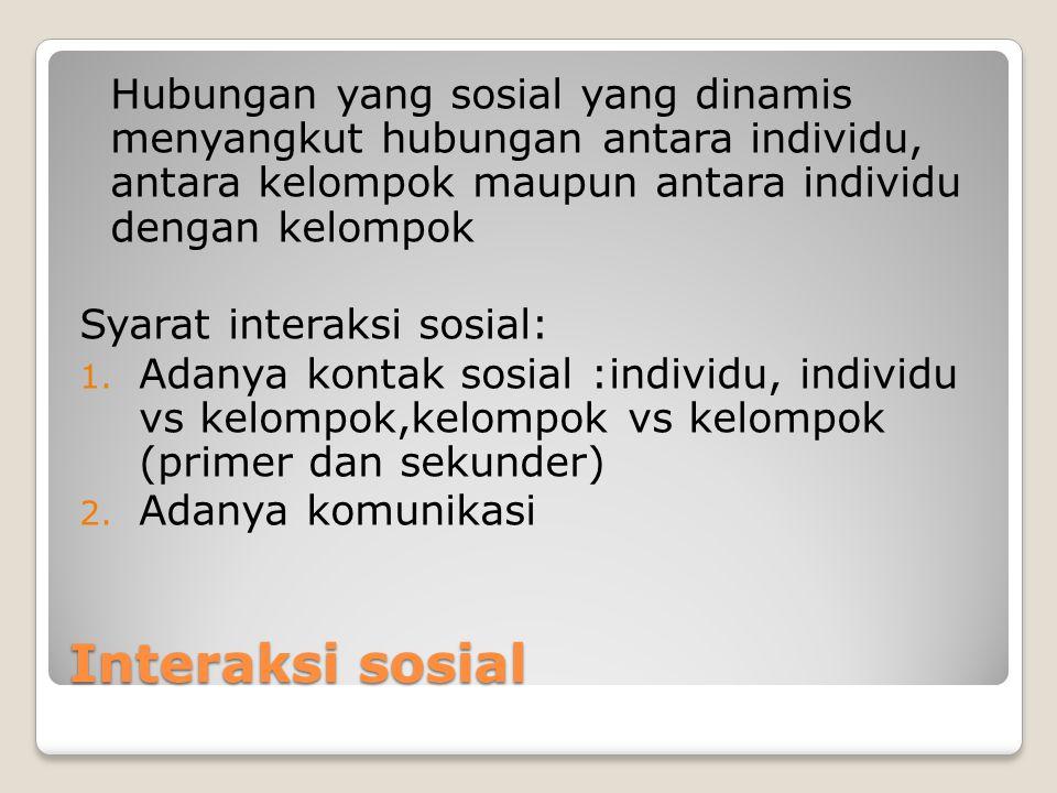 Interaksi sosial Hubungan yang sosial yang dinamis menyangkut hubungan antara individu, antara kelompok maupun antara individu dengan kelompok Syarat