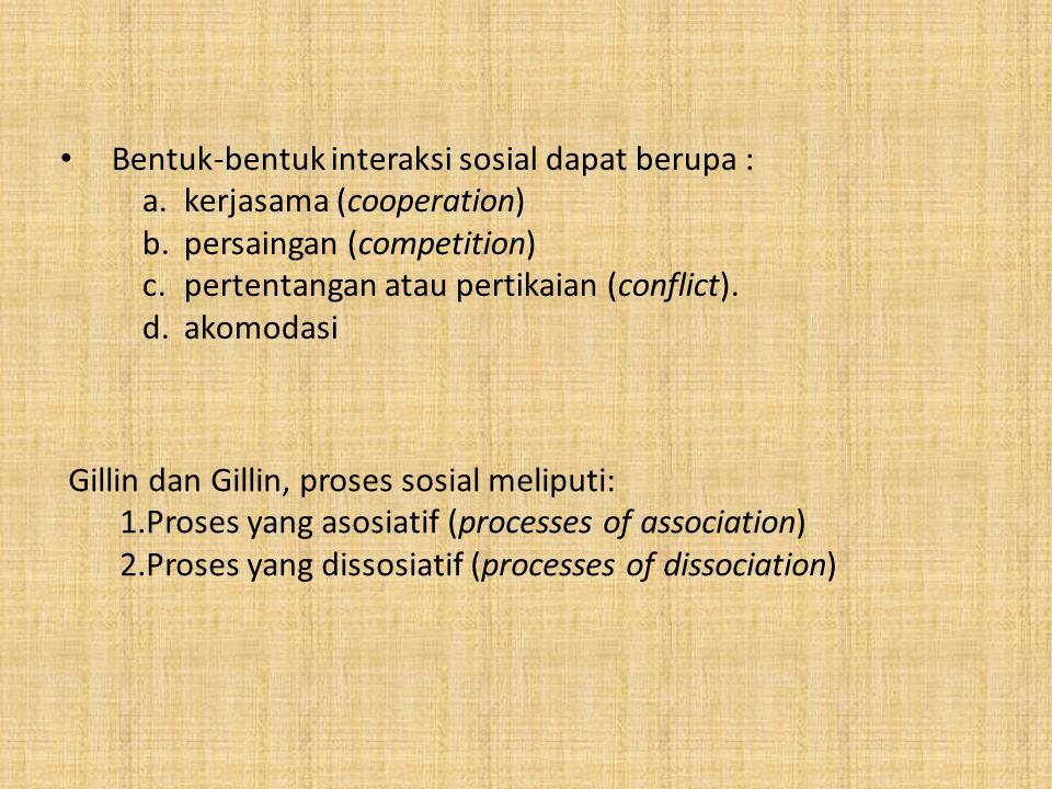 Gillin dan Gillin, proses sosial meliputi: 1.Proses yang asosiatif (processes of association) 2.Proses yang dissosiatif (processes of dissociation) Be