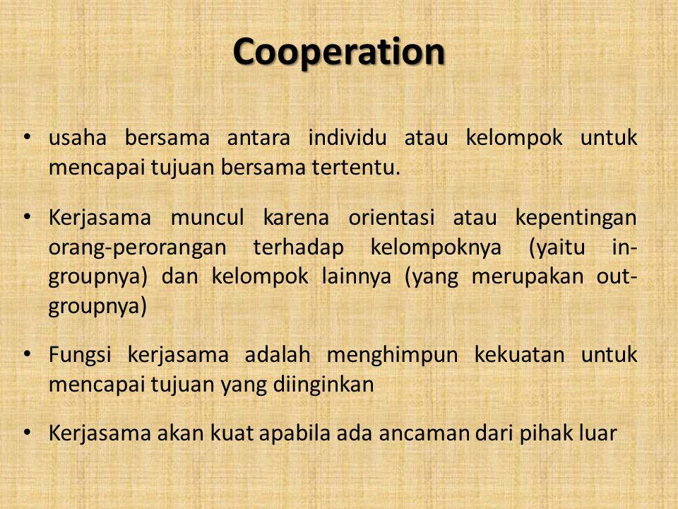 Cooperation usaha bersama antara individu atau kelompok untuk mencapai tujuan bersama tertentu. Kerjasama muncul karena orientasi atau kepentingan ora