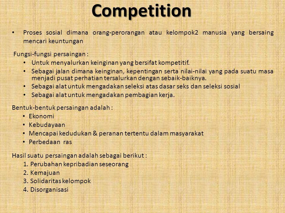 Competition Proses sosial dimana orang-perorangan atau kelompok2 manusia yang bersaing mencari keuntungan Fungsi-fungsi persaingan : Untuk menyalurkan
