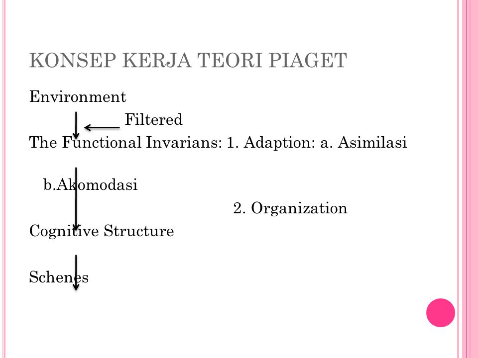 KONSEP KERJA TEORI PIAGET Environment Filtered The Functional Invarians: 1.