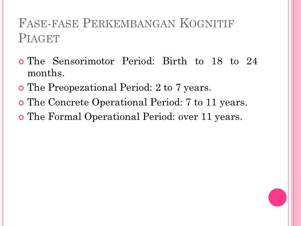 F ASE - FASE P ERKEMBANGAN K OGNITIF P IAGET The Sensorimotor Period: Birth to 18 to 24 months.