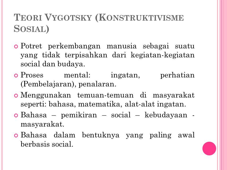 T EORI V YGOTSKY (K ONSTRUKTIVISME S OSIAL ) Potret perkembangan manusia sebagai suatu yang tidak terpisahkan dari kegiatan-kegiatan social dan budaya.
