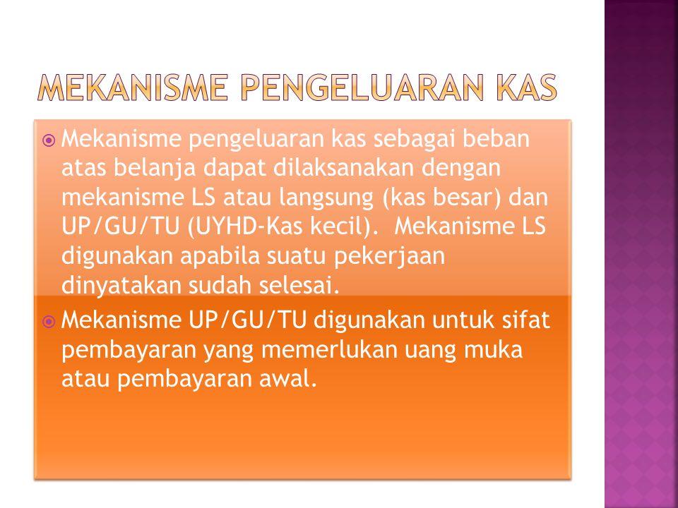  Mekanisme pengeluaran kas sebagai beban atas belanja dapat dilaksanakan dengan mekanisme LS atau langsung (kas besar) dan UP/GU/TU (UYHD-Kas kecil).