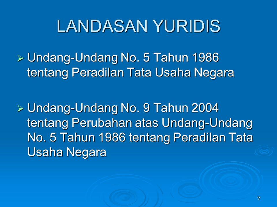 7 LANDASAN YURIDIS  Undang-Undang No. 5 Tahun 1986 tentang Peradilan Tata Usaha Negara  Undang-Undang No. 9 Tahun 2004 tentang Perubahan atas Undang
