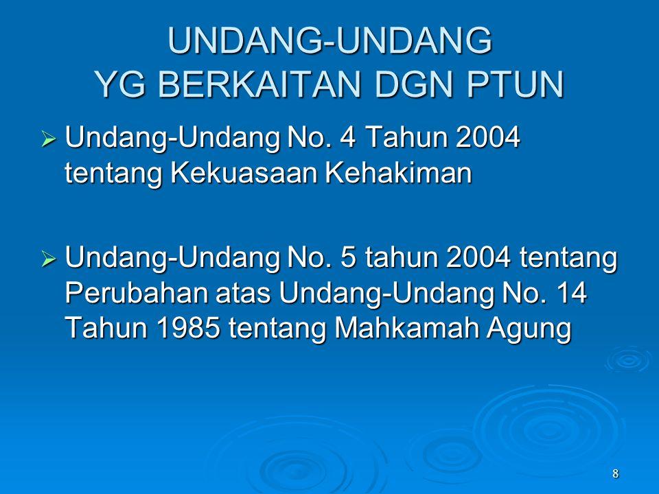 8 UNDANG-UNDANG YG BERKAITAN DGN PTUN  Undang-Undang No. 4 Tahun 2004 tentang Kekuasaan Kehakiman  Undang-Undang No. 5 tahun 2004 tentang Perubahan