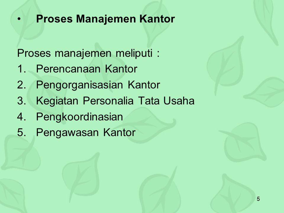 5 Proses Manajemen Kantor Proses manajemen meliputi : 1.Perencanaan Kantor 2.Pengorganisasian Kantor 3.Kegiatan Personalia Tata Usaha 4.Pengkoordinasi