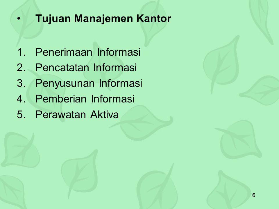 6 Tujuan Manajemen Kantor 1.Penerimaan Informasi 2.Pencatatan Informasi 3.Penyusunan Informasi 4.Pemberian Informasi 5.Perawatan Aktiva