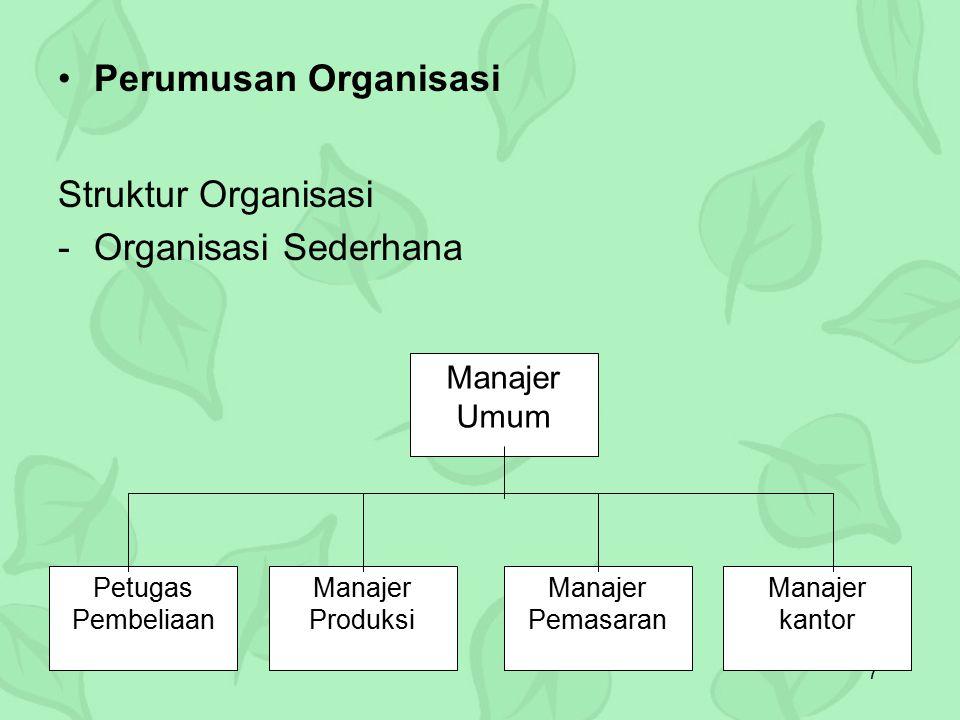 7 Perumusan Organisasi Struktur Organisasi -Organisasi Sederhana Manajer Umum Petugas Pembeliaan Manajer Produksi Manajer Pemasaran Manajer kantor